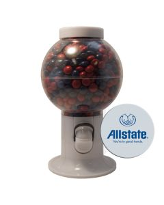 White Gumball Machine Filled with Corporate Color Chocolates