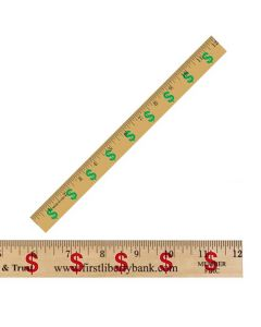 "12"" Clear Lacquer Wood Ruler w/ Dollar Sign (Financial Background)"