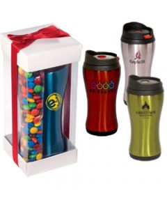 16 Oz. Click N Sip Stainless Tumbler w/ M&M Set