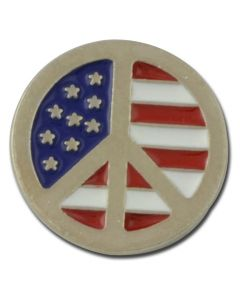 Peace Symbol with American Flag Lapel Pin