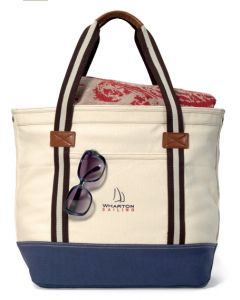 Heritage Supply Catalina Cotton Tote Bag w/ Navy Blue Bottom