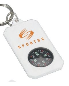 White Key Ring Compass