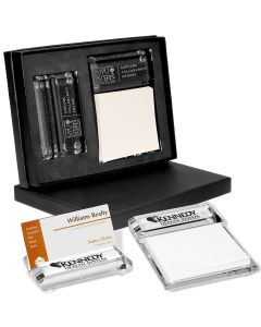 Barclay Glass Gift Set w/ Business Card Holder & Message Pad Holder