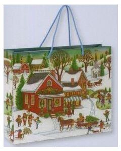 Winter Village Scene Gift Bag/ Product Packaging Option