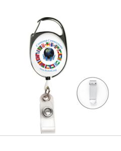 "30"" Retractable Carabiner Style Badge Reel - 4 Color Process (Overseas)"