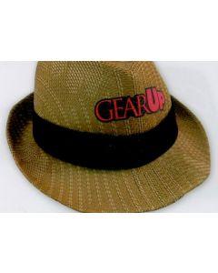 Straw Hat w/ Stripe Pattern & Hat Band