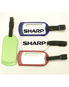 Rectangular luggage tag with durable rubber buckle strap