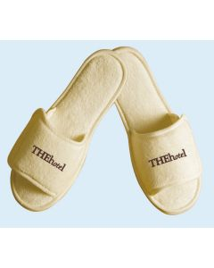 Open Toe Terry Slippers w/ Velcro Closure - Embroidered