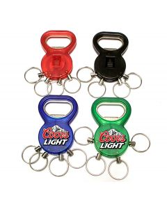 Bottle opener with key chain and split ring
