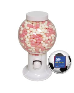 White Gumball Machine Filled with Corporate Color Jelly Beans