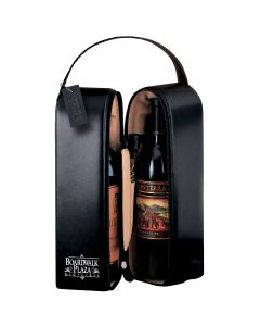 Upper West Side Leather Double Bottle Wine Case Traveler w/ Corkscrew