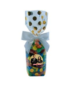 Gold Dots Mug Stuffer Gift Bag with M&M's