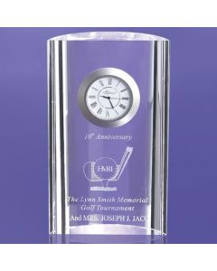 "Ontario Crescent Shaped Award with Imbedded Clock (6"")"