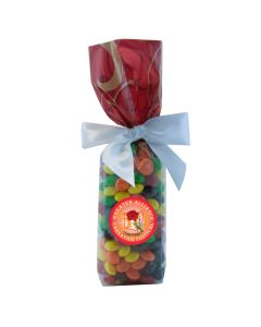 Red Swirl Mug Stuffer Gift Bag with Skittles