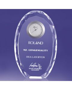 Niles Faceted Edged Oval Award with Clock