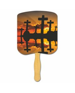 Religious Hand Fan/ Crosses at Sunset
