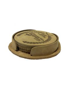 """Leather Coasters in Sets of 4 - (3 7/8"""" Diameter)"""