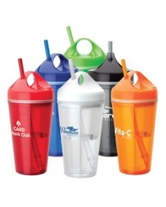 16 oz. Acrylic Double Wall Tumbler w/ Carry Handle & Straw