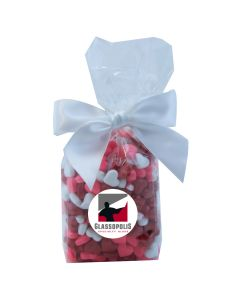 Clear Mug Stuffer Gift Bag with Candy Hearts