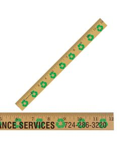 "12""Clear Lacquer Wood Ruler w/ Recycling Background"