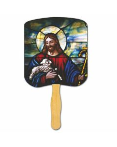 Religious Hand Fan/ Jesus the Good Shepherd
