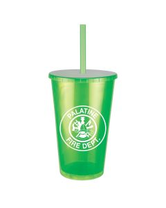 16 Oz. Jewel Double Wall Insulated Tumbler w/ Lid and Straw