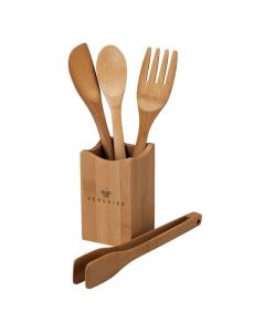 4 Piece Bamboo Kitchen Utensil Set