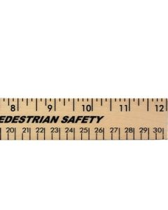 "12"" Clear Lacquer Wood Ruler (Spot Color)"