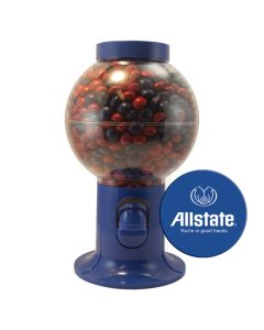 Blue Gumball Machine Filled with Corporate Color Chocolates