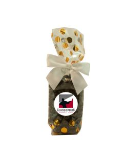 Gold Dots Mug Stuffer Gift Bag with Chocolate Covered Espresso Beans