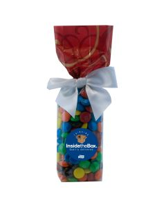 Red Swirl Mug Stuffer Gift Bag with M&M's