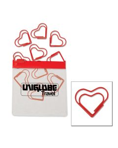 Heart Paper Clips in Clear Pouch w/ Color Trim