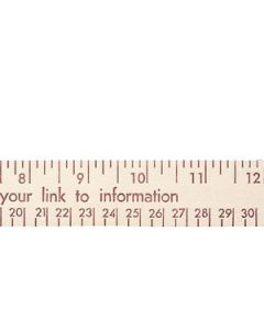 "12"" Natural Finish Flat Wood Ruler (Spot Color)"